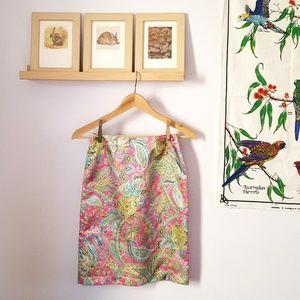 Vintage Pink Paisley Pencil Skirt